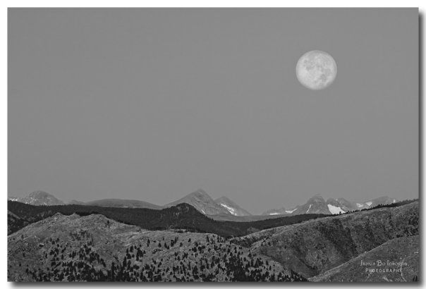 Supermoon Over Colorado Rocky Mountains Indian Peaks BW