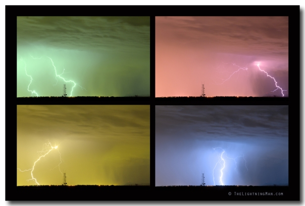 Colorful Lightning Thunderstorm Collage Art