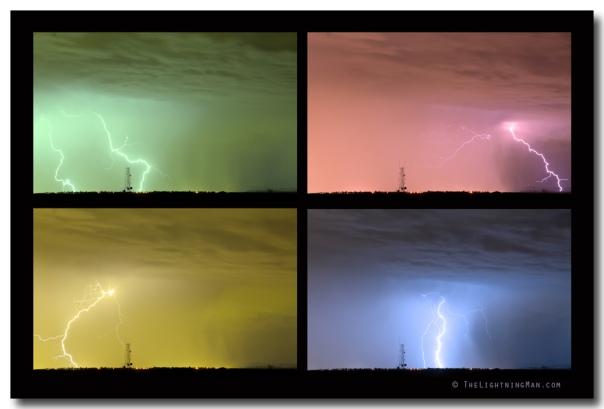 Colorful Lightning Thunderstorm Collage Art