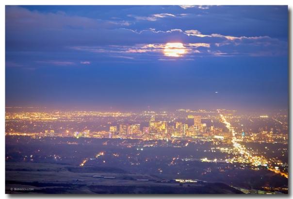 Cloudy Hazy Denver Colorado September Super Moon Art