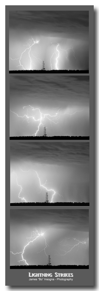 Lightning Strikes 4 Image Vertical Progression Art Print