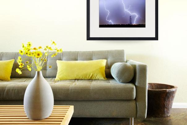 Two Giant Lightning Strikes Art print