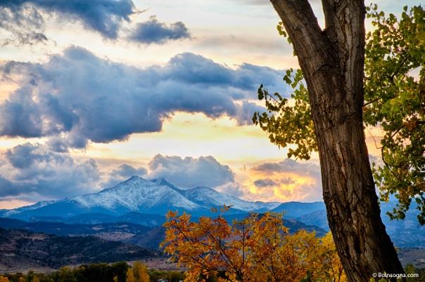 Colorado Rocky Mountain Twin Peaks Autumn View Art Print