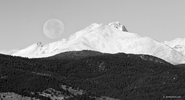 Moon Over Snow Covered Twin Peaks BW Panorama