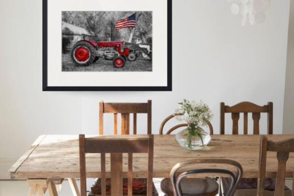 Massey -  Feaguson 65 Tractor with USA Flag BWSC Art Print