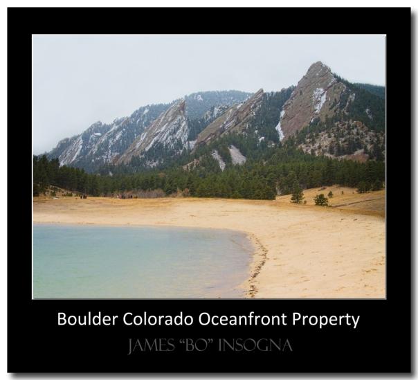 Boulder Flatirons Oceanfront Property Black Art Poster Print