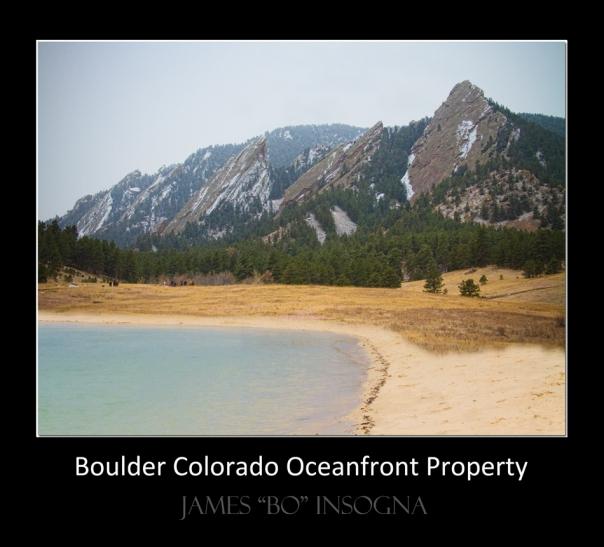 Boulder Flatirons Oceanfront Property Poster Black