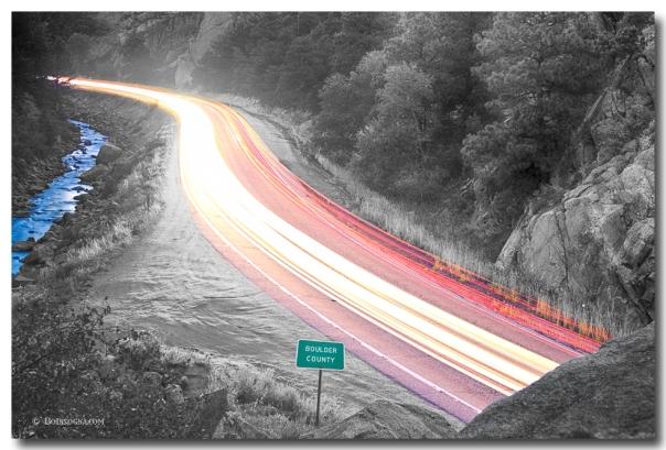 Boulder County Colorado Blazing Canyon View BWSC Art Print