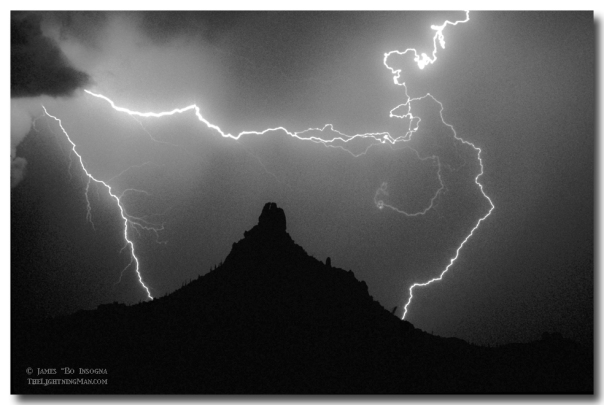 Pinnacle Peak Surrounded in Black and White Art Print