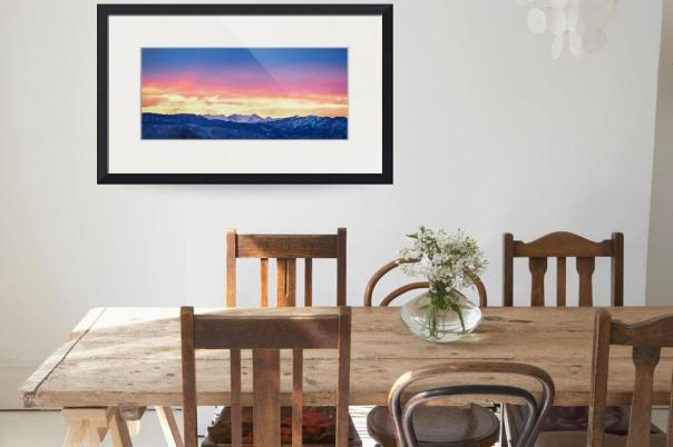 Rocky Mountain Sunset Burning Layers Panorama Art Print