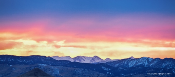 Rocky Mountain Sunset Clouds Burning Layers Panorama Print