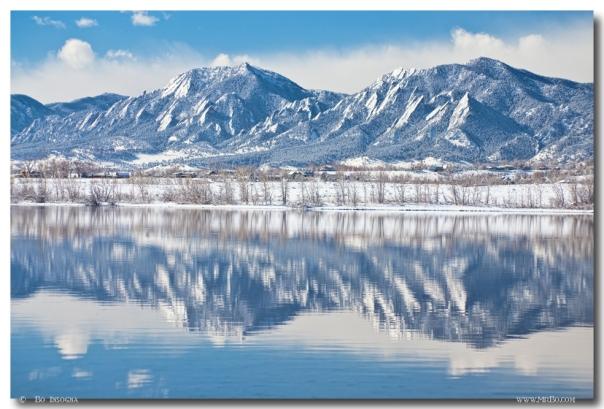 Boulder Reservoir Flatirons Reflections Boulder Colorado Art Print