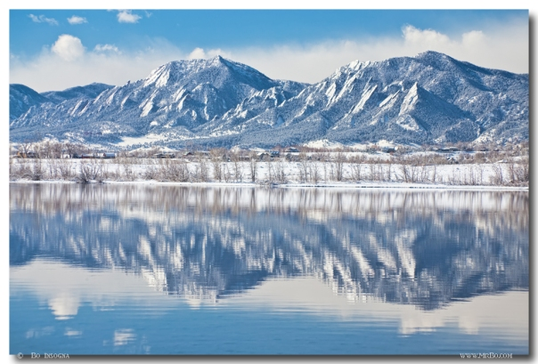Boulder Reservoir Flatirons Reflections Boulder Colorado Art Print