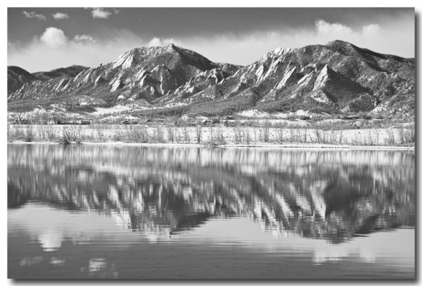 Boulder Reservoir Flatirons Reflections CO BW Art Print