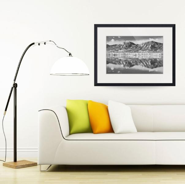 Boulder Reservoir Flatirons Reflections CO BW Art Print