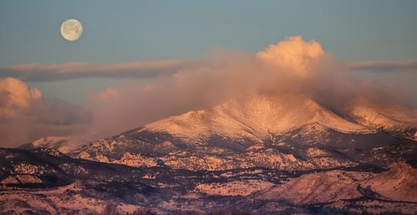 Colorado Rocky Mountain Full Moon Set Panorama Art Print