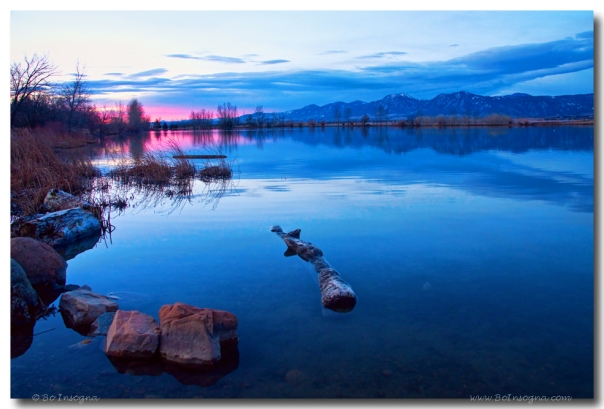 Coot Lake Boulder Flatiron Early Morning View Art Print