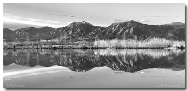 Flatirons Morning Reflections Panorama Boulder Colorado in BW Art Print