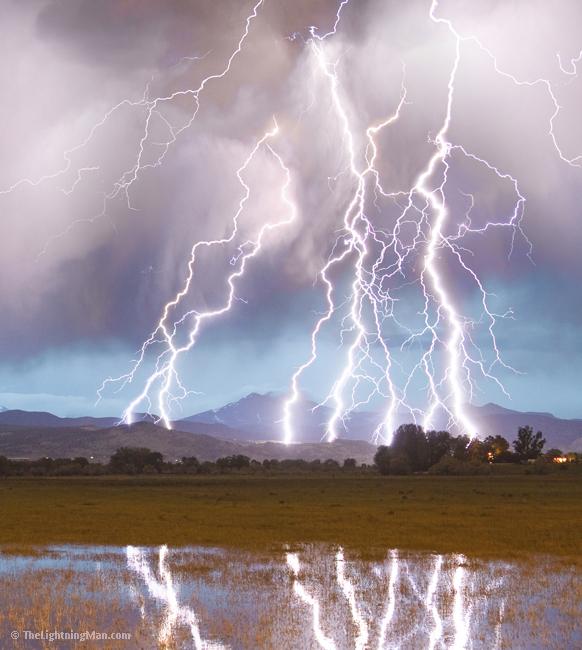Lightning Striking Longs Peak Foothills 4