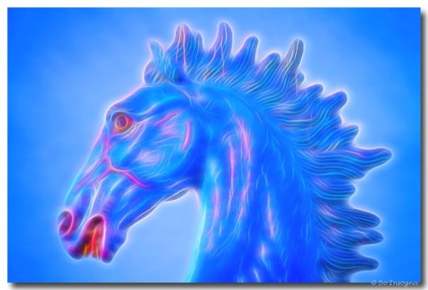 Blucifer The Blue Horse Headshot Art Print