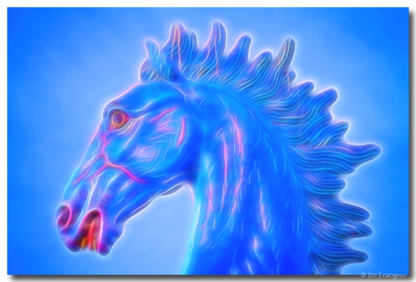 Blucifer The Blue Horse Headshot Art Print