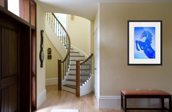 Blucifer The Rearing Blue Mustang Horse Art Prints