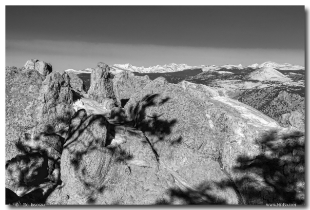 Colorado Rocky Mountain Scenic View in Black and White