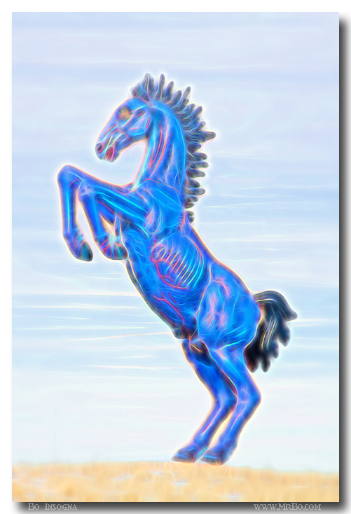 Electrified Blucifer The Rearing Blue Mustang