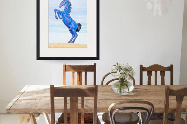 Electrified Blucifer The Rearing Blue Mustang Art Prints