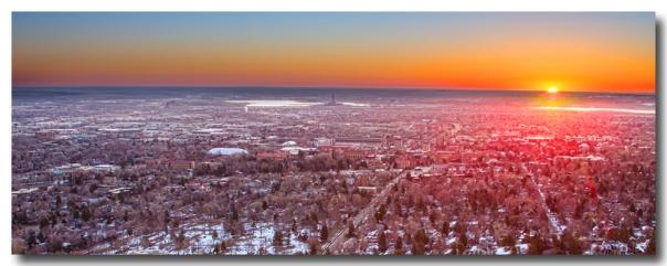 Morning Sunrise Over Boulder Colorado University Panorama Print