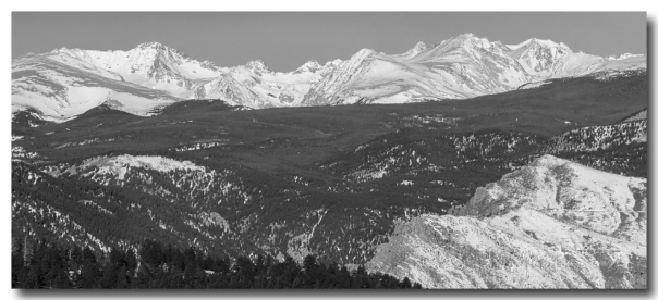 Rocky Mountain Continental Divide Winter Panorama Black White Print