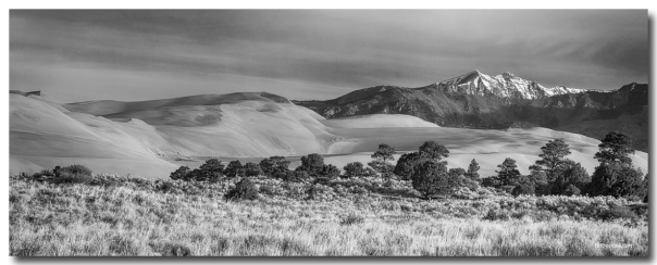 Plains Dunes And Rocky Mountains Panorama Black White Art