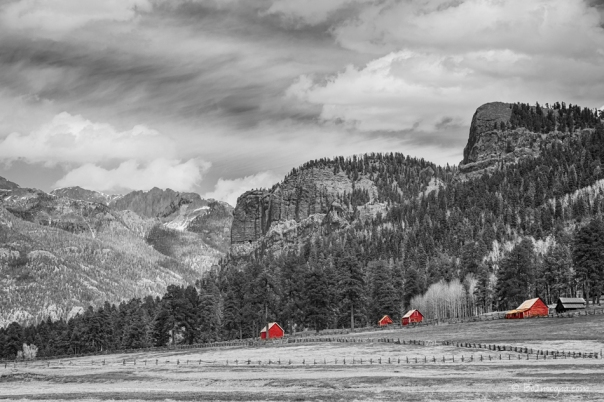 Colorado Western Landscape Red Barns Art Print