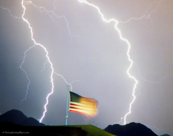 American Flag Lightning Strikes Art Print