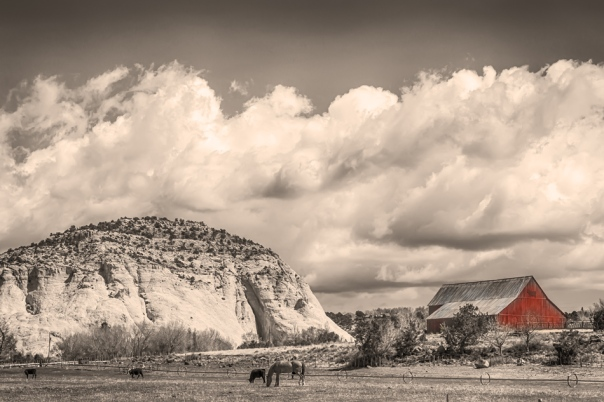 Just a scenic western landscape view of one of the many beautiful sights along route 12 in the beautiful state of Utah.    Just love the horse with the cows, red barn and western landscape.  You can almost images what it was like back then in the old west days.  Like going back in time.