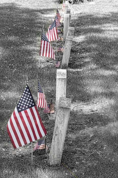 Old Tombstones And American Flags Art Print