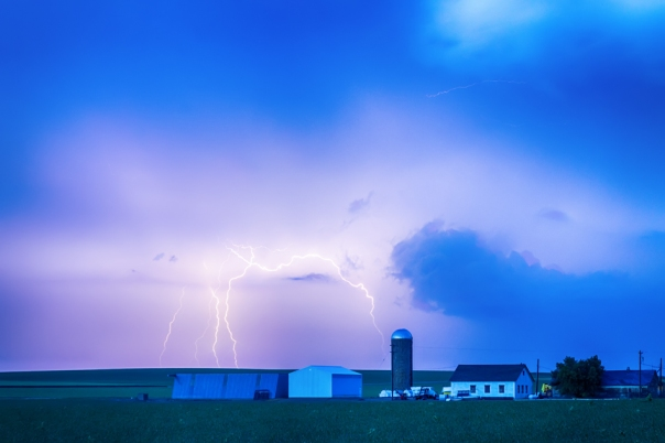 Colorado Farming Country Lightning Storm Art Prints
