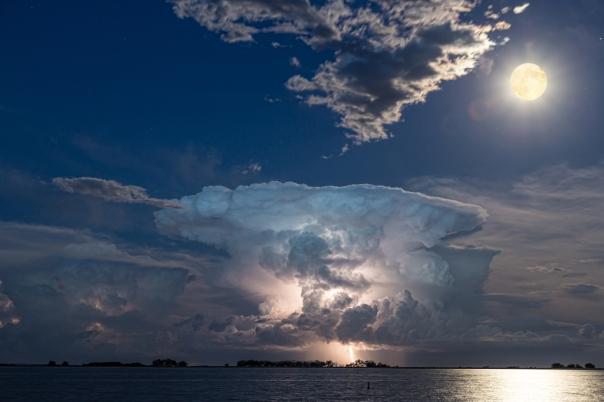 Lake Lightning Striking Thunderstorm Cell and Full Moon Art