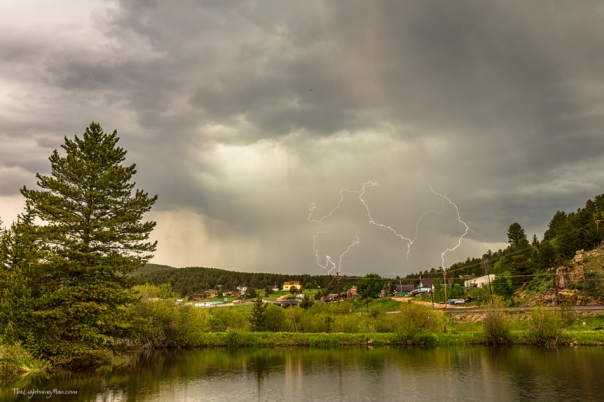 Lightning Striking Over Rollinsville Colorado Art Print