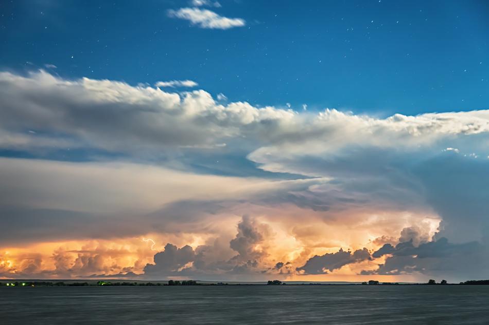 Sunset Cloud To Cloud Lightning Storm Striking