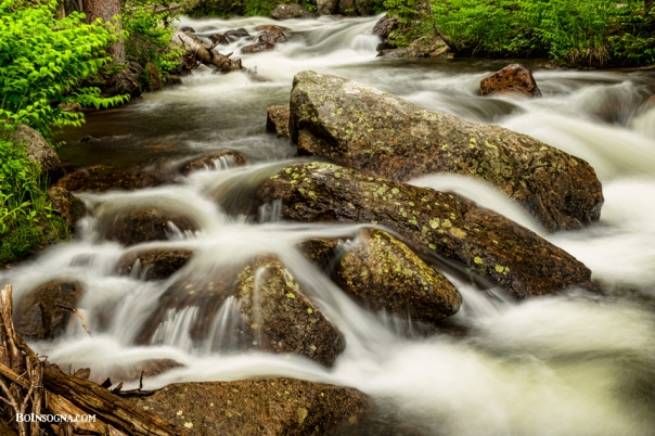Cascading Water and Rocky Mountain Rocks Art Print