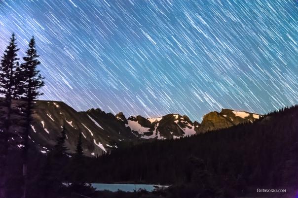 Raining Stars Over Longs Lake and The Indian Peaks