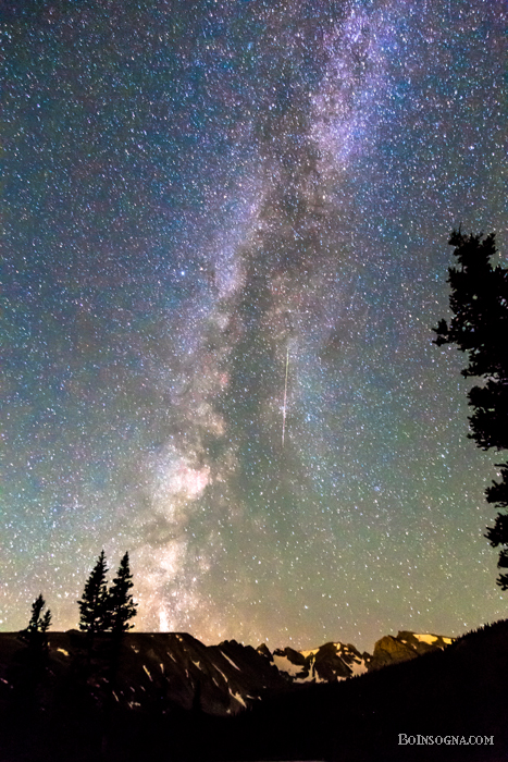 Rocky Mountain Milky Way and Falling Star