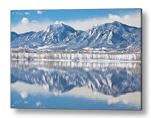 Boulder Reservoir Flatirons Reflections Boulder Colorado Acrylic Print