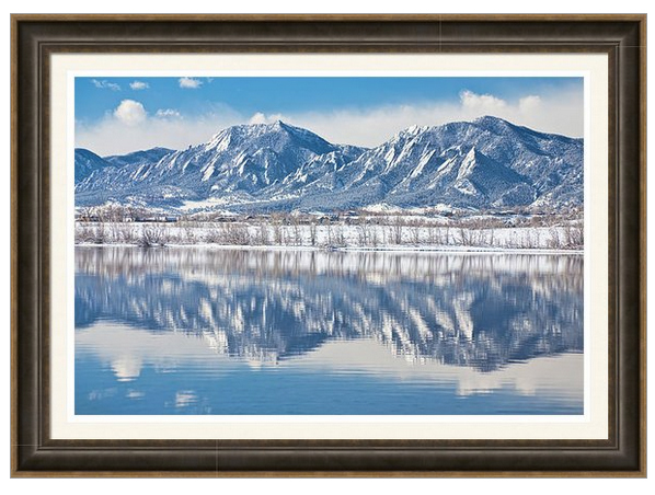 Boulder Reservoir Flatirons Reflections Boulder Colorado Framed