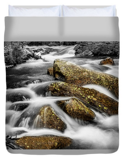 Cascading Water and Rocky Mountain Rocks Queen Duvet Cover