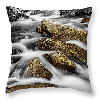 "Cascading Water and Rocky Mountain Rocks Throw Pillow 20"" x 20"""