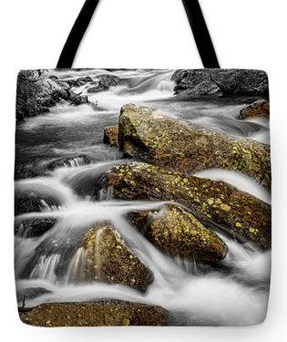 "Cascading Water and Rocky Mountain Rocks Tote Bag 18"" x 18"""