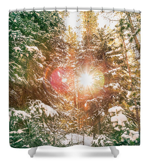 Colorado Rocky Mountain Snow and Sunshine Shower Curtain