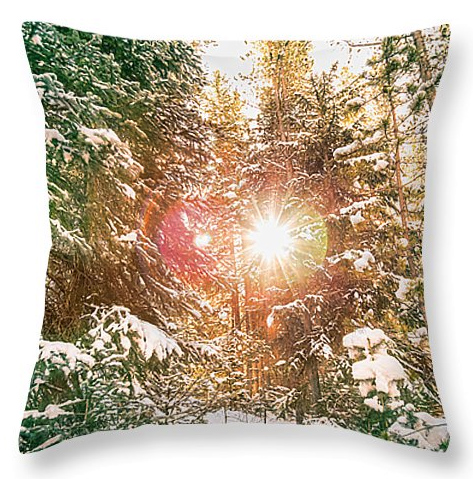 "Colorado Rocky Mountain Snow and Sunshine Throw Pillow 20"" x 20"""